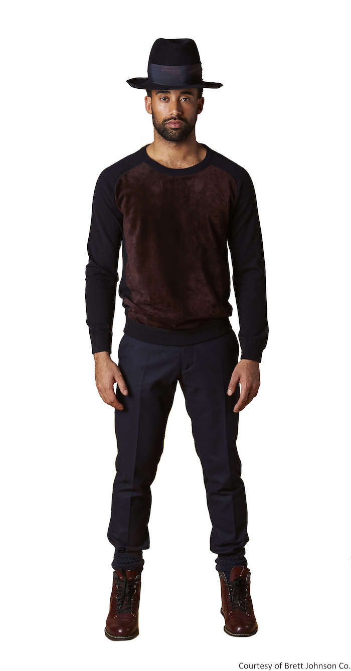 Paneled Front Crewneck Suede Front Sweater - Brett Johnson - Sweater - TOPGEARNY
