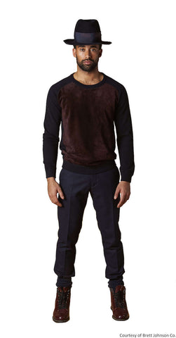 Paneled Front Crewneck Suede Front Sweater