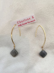 Labradorite Oval Hoop Earrings - Charlene K - Earrings - TOPGEARNY