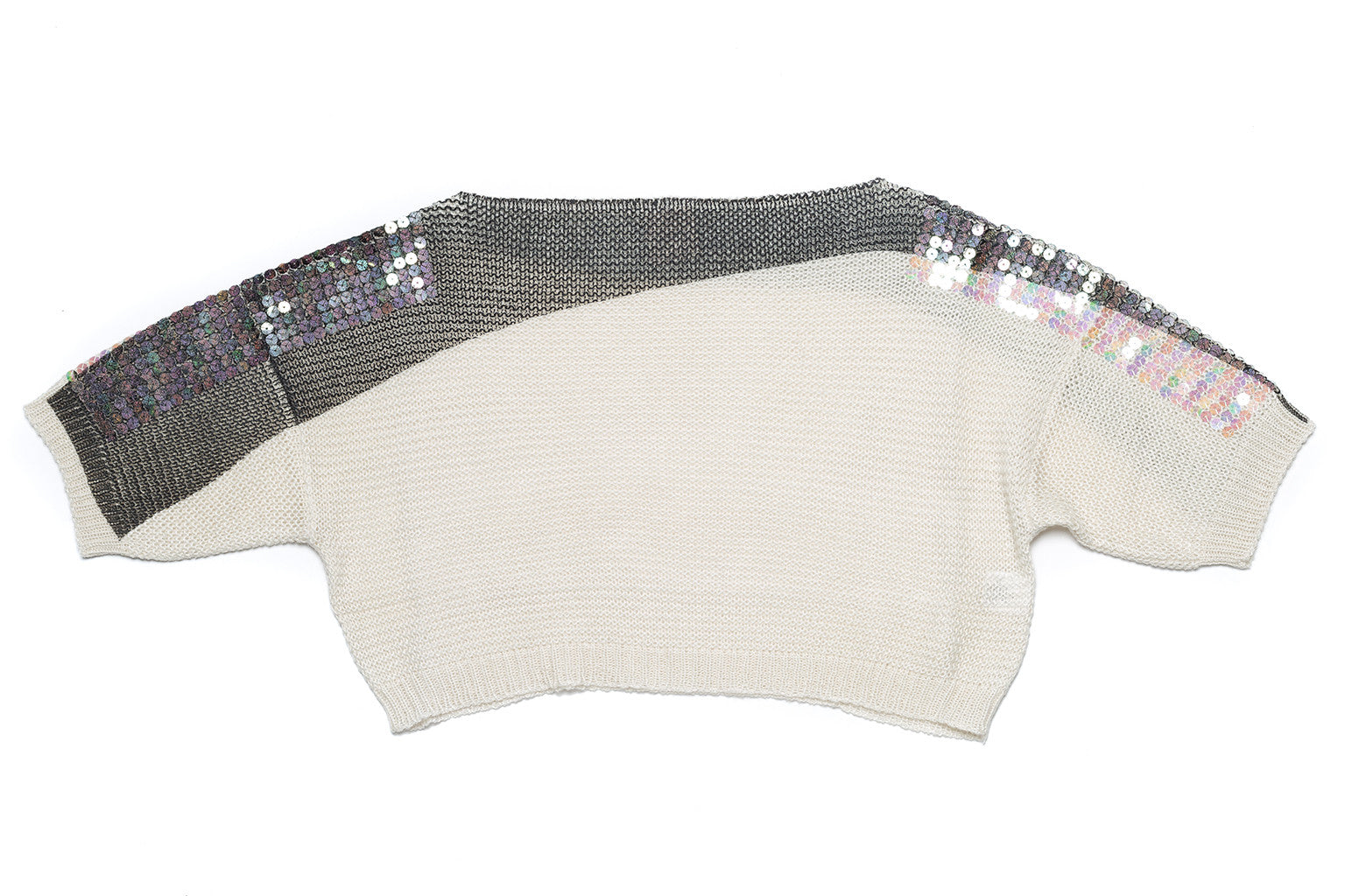 Links Round Neck Sequin Crop Sweater - Nude - Sweater - TOPGEARNY
