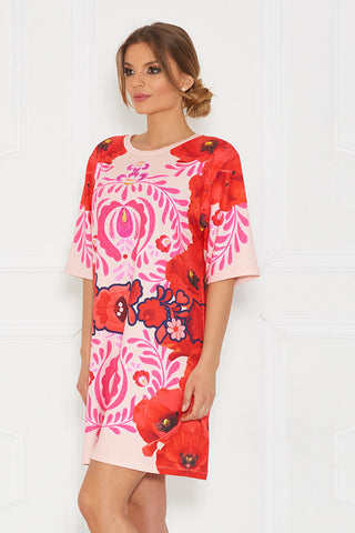Galla Matyo Elbow Sleeve Printed Tunic Short Dress