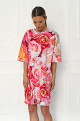 Galla Rose Elbow Sleeve Printed Tunic Dress