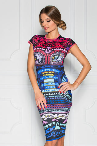 Helen Printed Cap Sleeve Fitted Dress