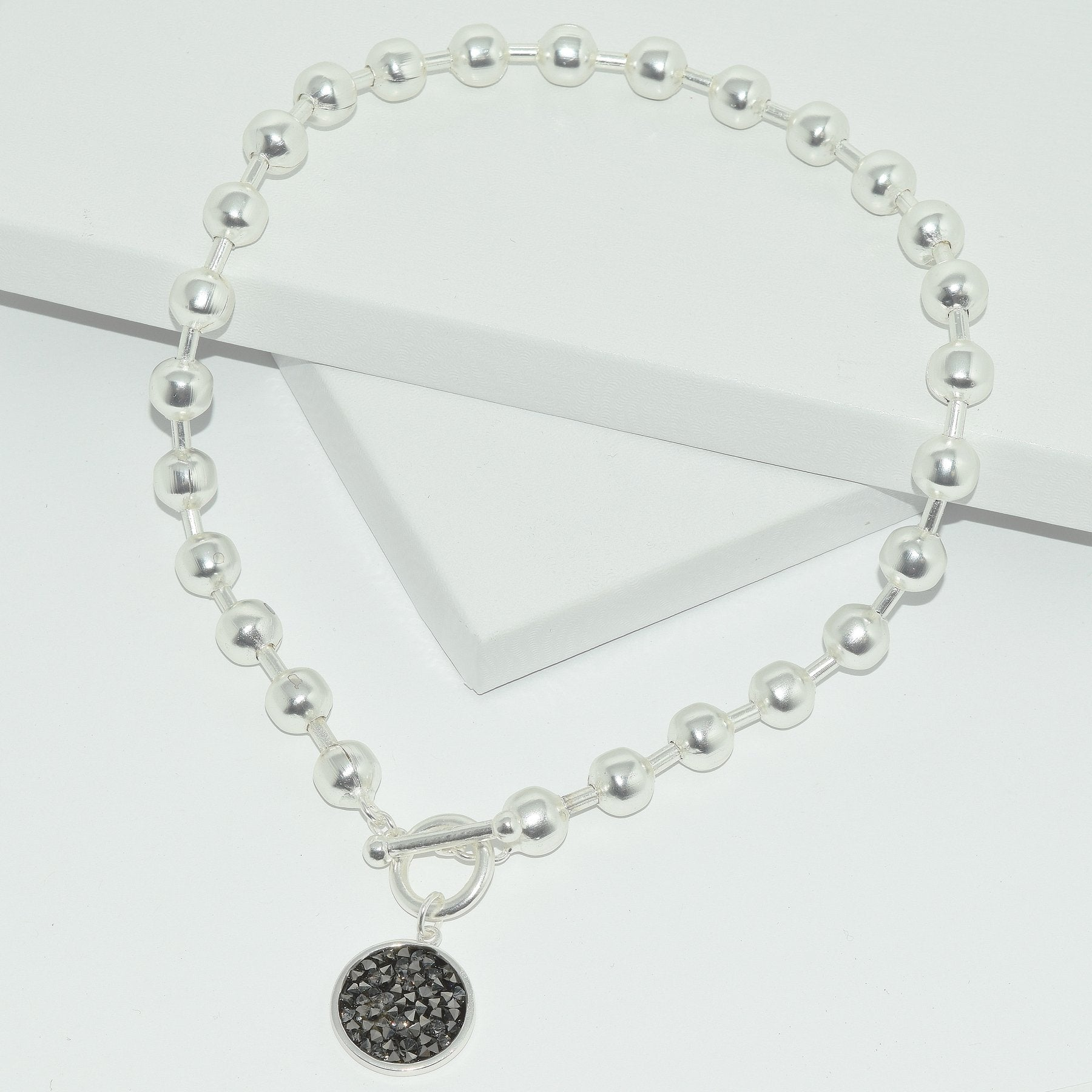 Ball Chain & Crystal Necklace