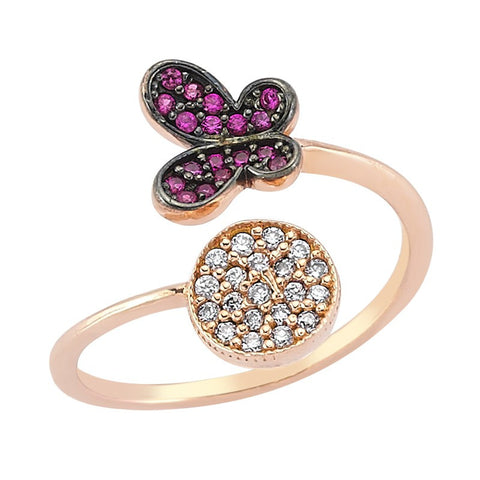 Butterfly and Circle Ring - Amorium - Ring - TOPGEARNY