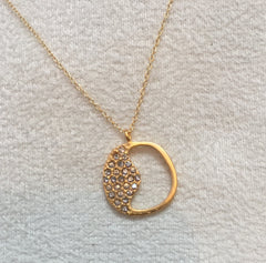18K Gold Plated Ying Yang  Necklace, Black diamond