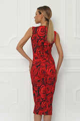 Sirine Printed Sleeveless Fitted Dress - Sugarbird - Dress - TOPGEARNY