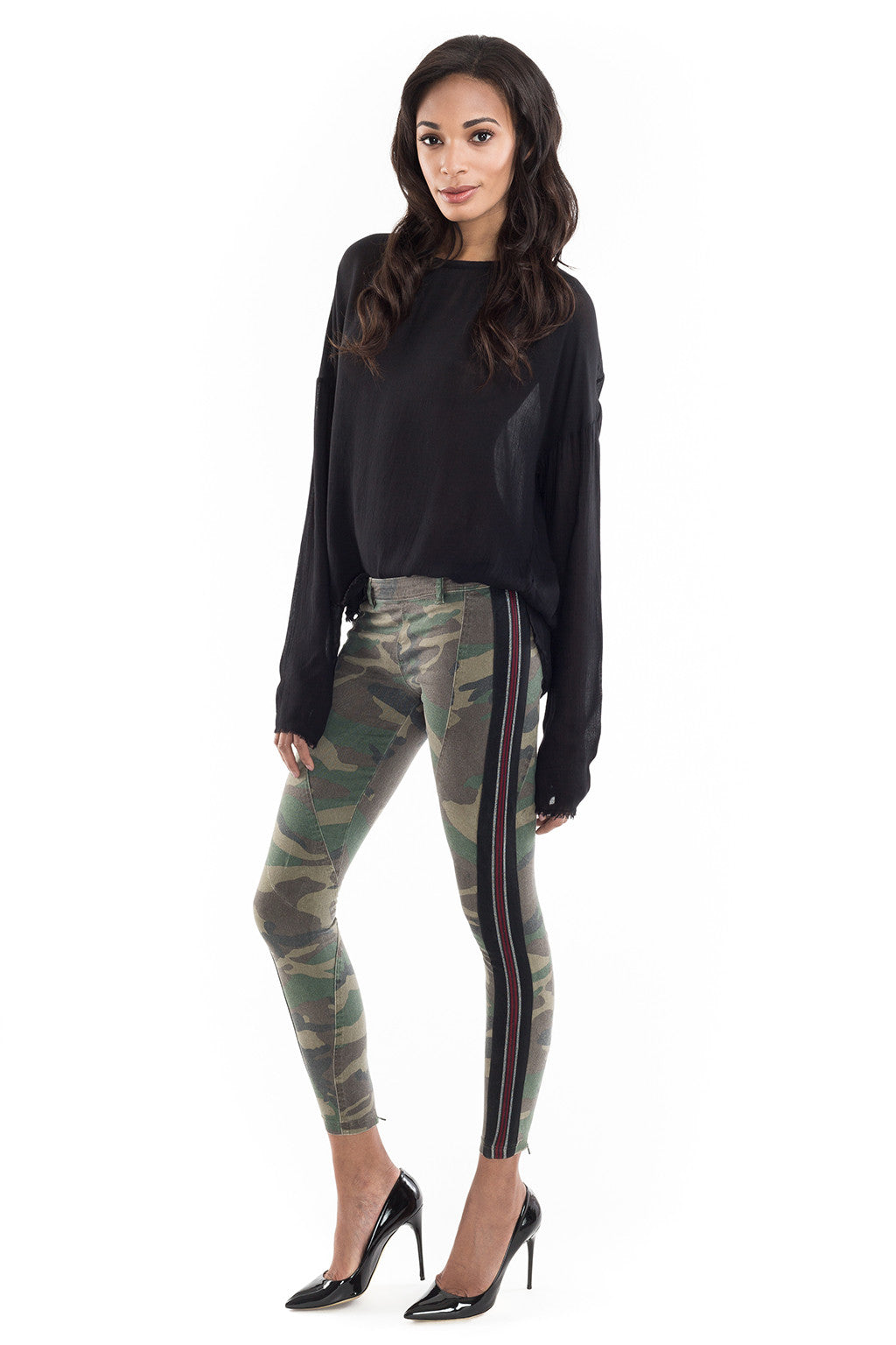Army Khaki Camo Red Leggings - Faith Connexion - Bottoms - TOPGEARNY