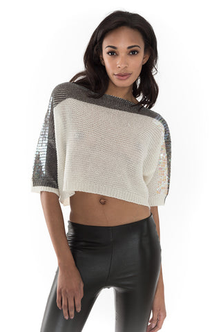 Links Round Neck Sequin Crop Sweater
