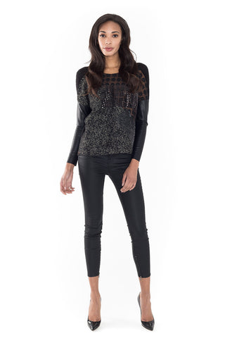 Round Neck Sweater with Sequin Chest Stripe