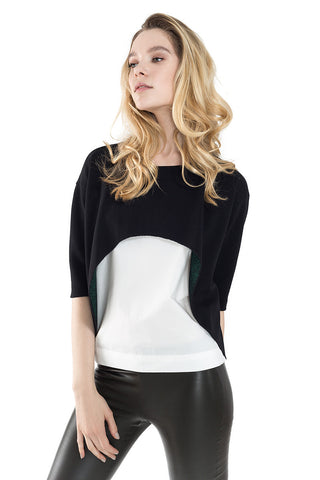 Boat Neck Elbow Sleeve Contrast Woven Top