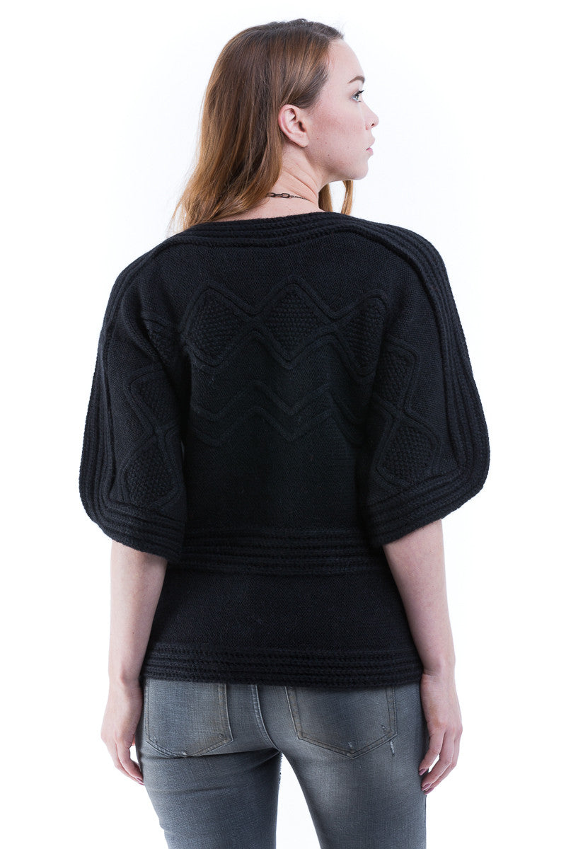 Crew Neck Elbow Sleeve Cable Sweater - Sita Murt - Sweater - TOPGEARNY