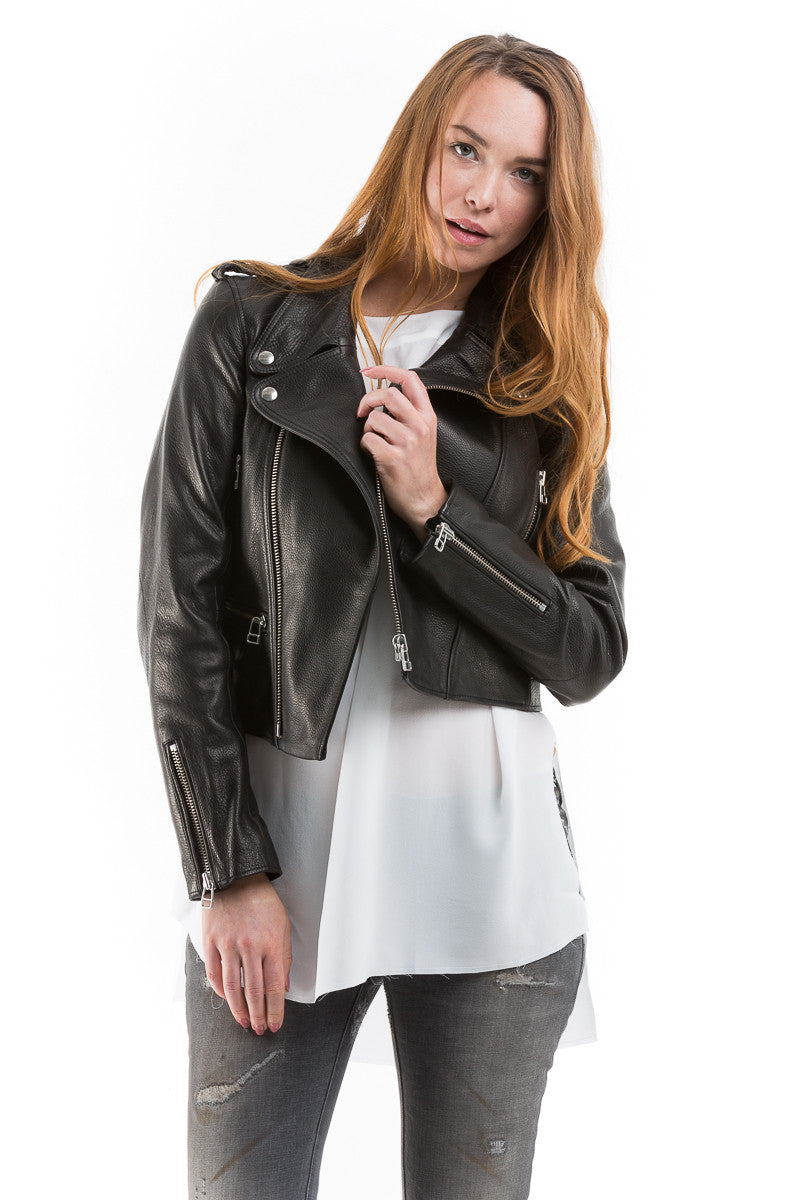 Boxy Leather Moto Jacket - Faith Connexion - Jacket - TOPGEARNY