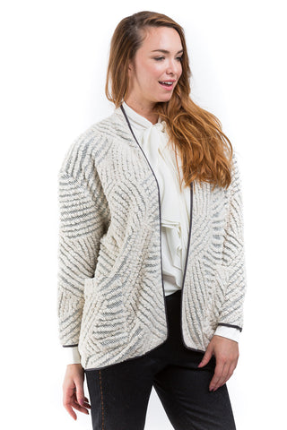 Geometric motif knit jacket