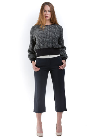 Contrasted details crop pants
