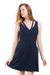 Deep V-Neck Fit & Flare Dress W/ Neck Cut Out - A.B.S. - Dress - TOPGEARNY