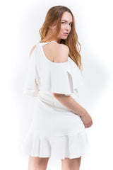 Deep V-Neck Cold Shoulder Dress - A.B.S. - Dress - TOPGEARNY