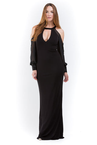 Shoulder Cutout Gown W/ Chiffon