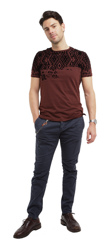 Crew Neck Jersey M T-Shirt with Geometric Print Embossed with Velvet - Antony Morato - T-Shirt - TOPGEARNY