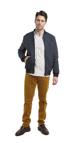 Quilted bomber with micro-square effect