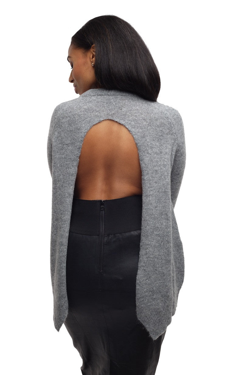 Open Back Round Neck Sweater - Nude - Sweater - TOPGEARNY