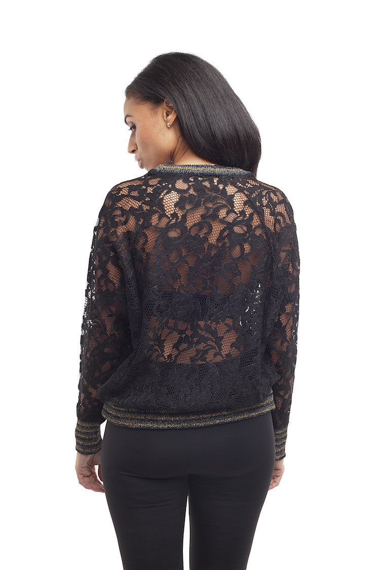 Lace Round Neck Pullover w/Lurex Rib Trim - Nude - Top - TOPGEARNY