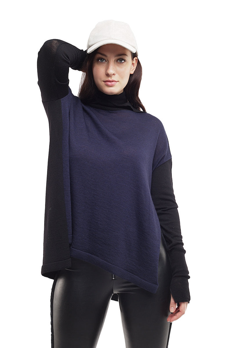 Bi Colored Turtleneck Sweater - Nude - Sweater - TOPGEARNY