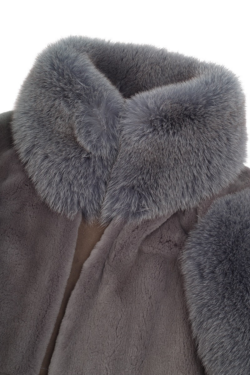 Grey Fox Fur Coat - Elena Benarroch - Coat - TOPGEARNY