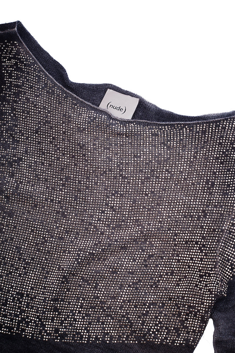 Boat Neck Sweater w/ Stud Application - Nude - Sweater - TOPGEARNY