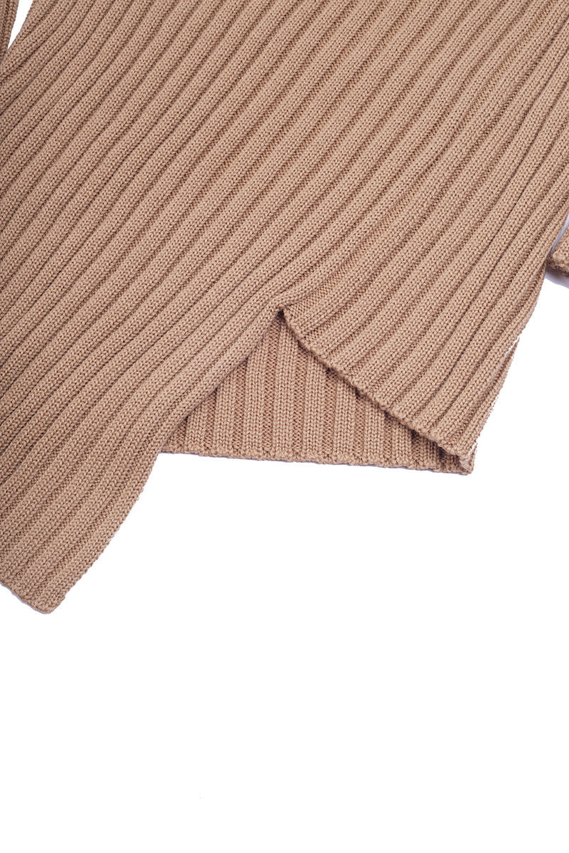 Ribbed Turtleneck Sweater - Nude - Sweater - TOPGEARNY