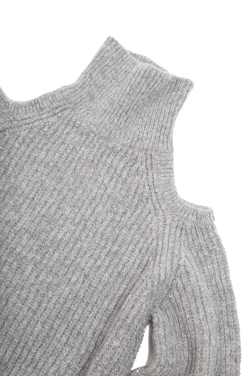 Turtleneck Off Shoulder Sweater - Nude - Sweater - TOPGEARNY