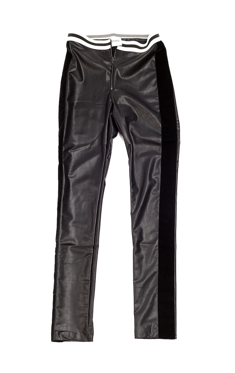 Eco Leather Pants with Contrast Elastic Waistband - Nude - Bottoms - TOPGEARNY
