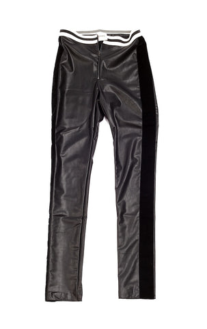 Eco Leather Pants with Contrast Elastic Waistband