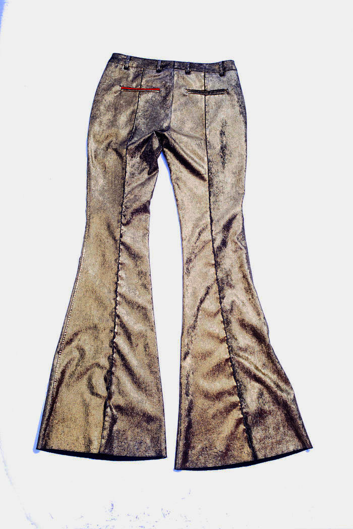 Laminated Velvet Trousers - Nude - Bottoms - TOPGEARNY