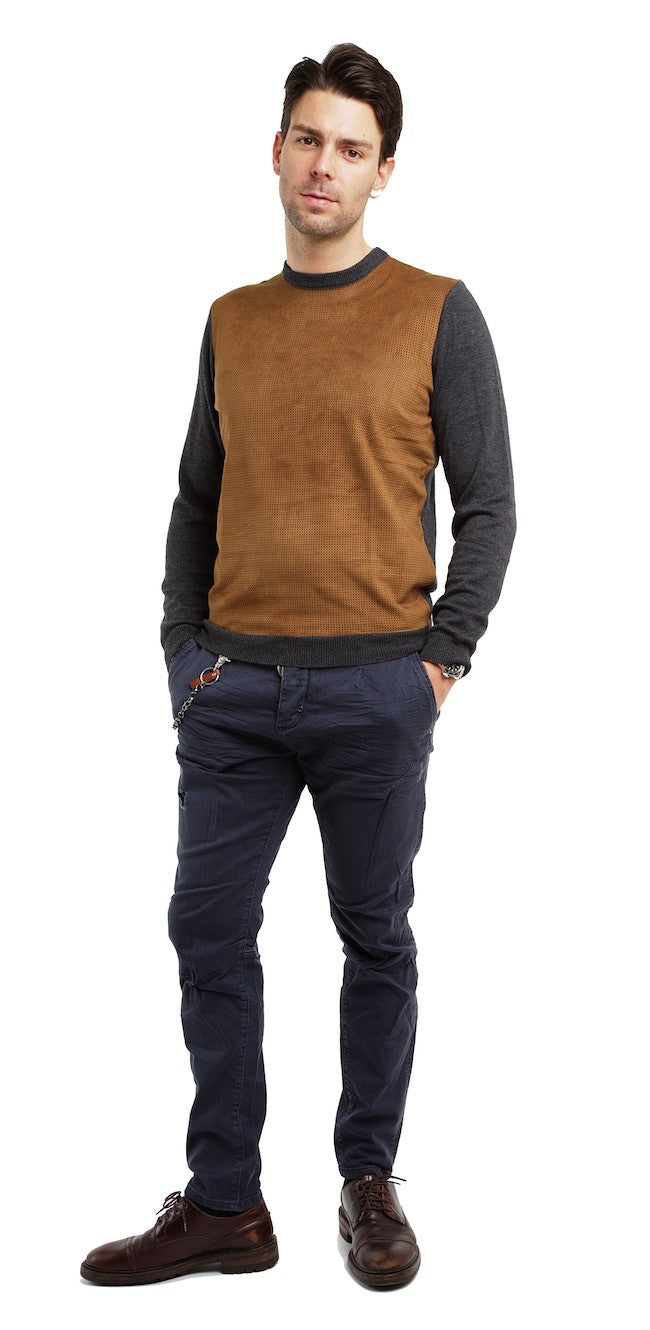 Suede Front Knit Sweater - Antony Morato - Sweater - TOPGEARNY