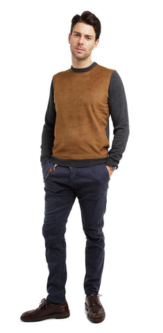 Suede Front Knit Sweater