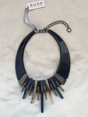 Blue/Tortoise Band Necklace