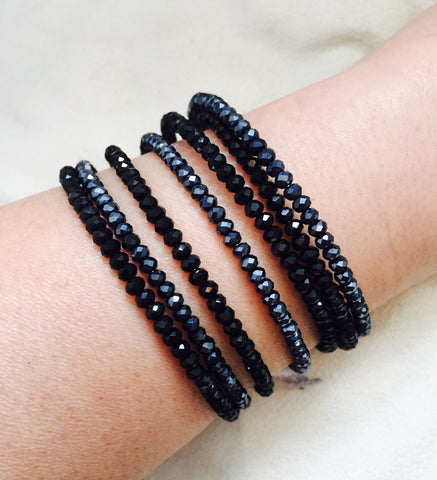 Crystallized Black Beaded Bangle Bracelet