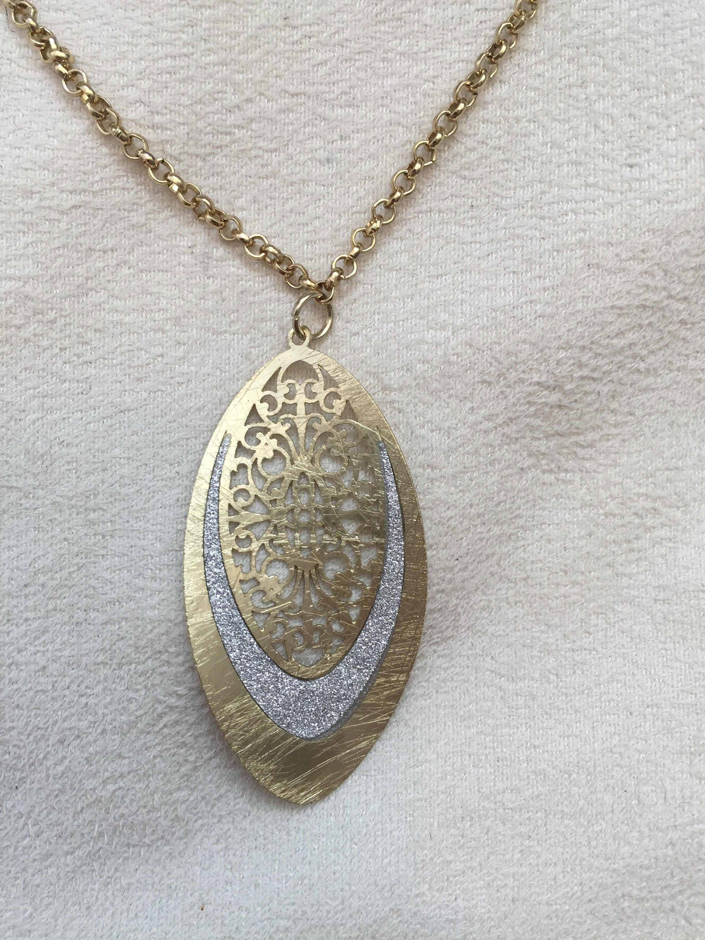 Scratched Gold/Scratched Leaf Pendant - Rush - Necklace - TOPGEARNY