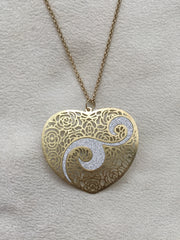 Scratched Gold/Glitter: Silver Heart Pendant