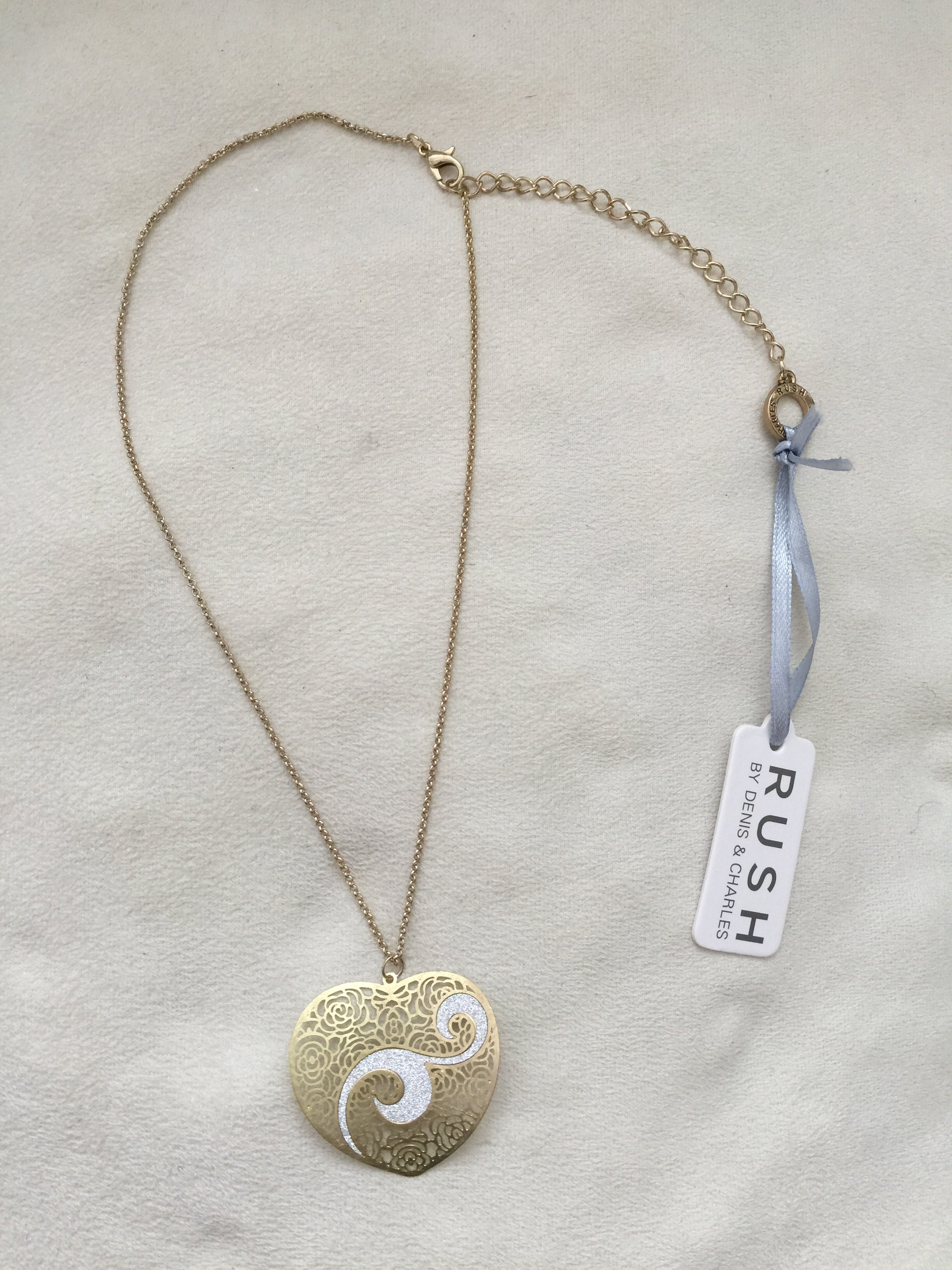 Scratched Gold/Glitter: Silver Heart Pendant - Rush - Necklace - TOPGEARNY