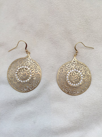Crystal Decorated pop-up golden earrings