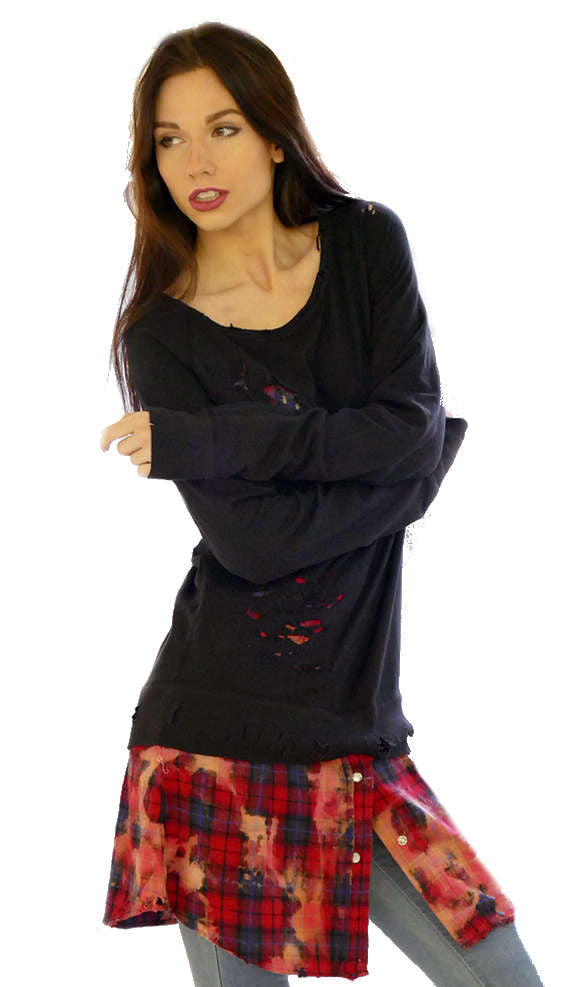 Black / Red Destructed Sweater Shirt Combo - Nu Vintage - Sweater - TOPGEARNY