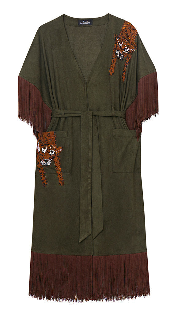 Lazy Leo Faux Suede Cape Dress - Katya Dobryakova - Dress - TOPGEARNY