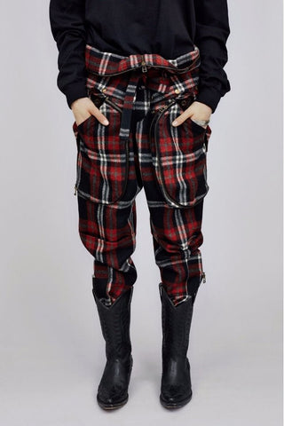 Tartan Wool Gauze Multi Pocket Pants