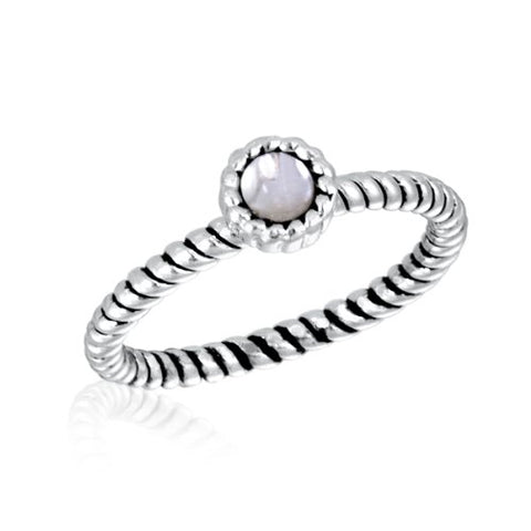 DaVinci Ring - Stackable Crystal Round Silver Ring #17-4