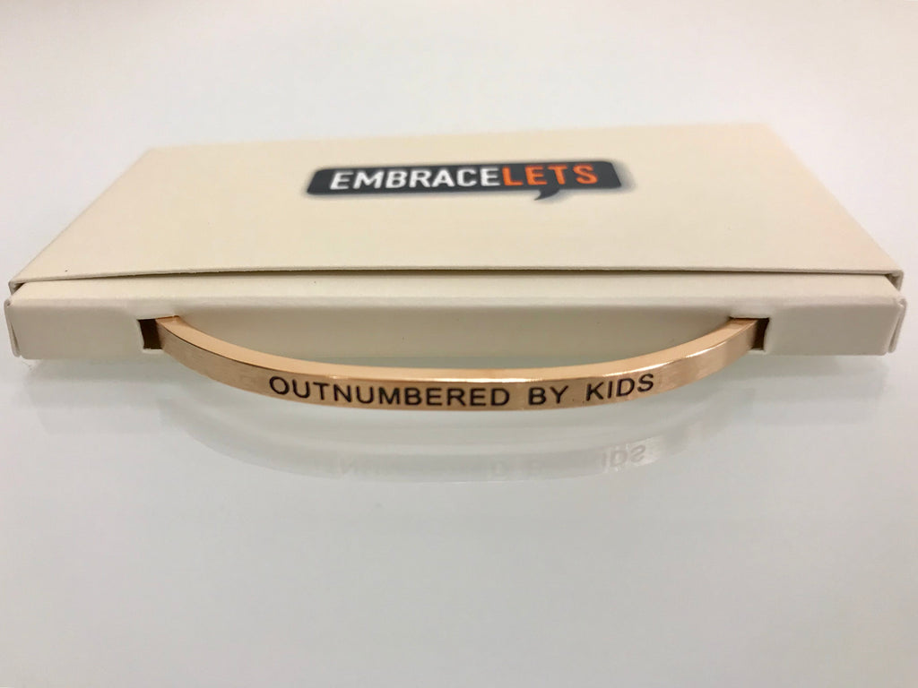 "Embracelets - ""Outnumbered By Kids"" Rose Gold Bracelet - Accessories Boutique"
