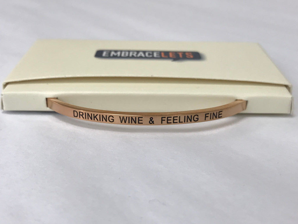 "Embracelets - ""Drinking Wine & Feeling Fine"" Rose Gold Stainless Steel, Stackable, Layered Bracelet - Accessories Boutique"