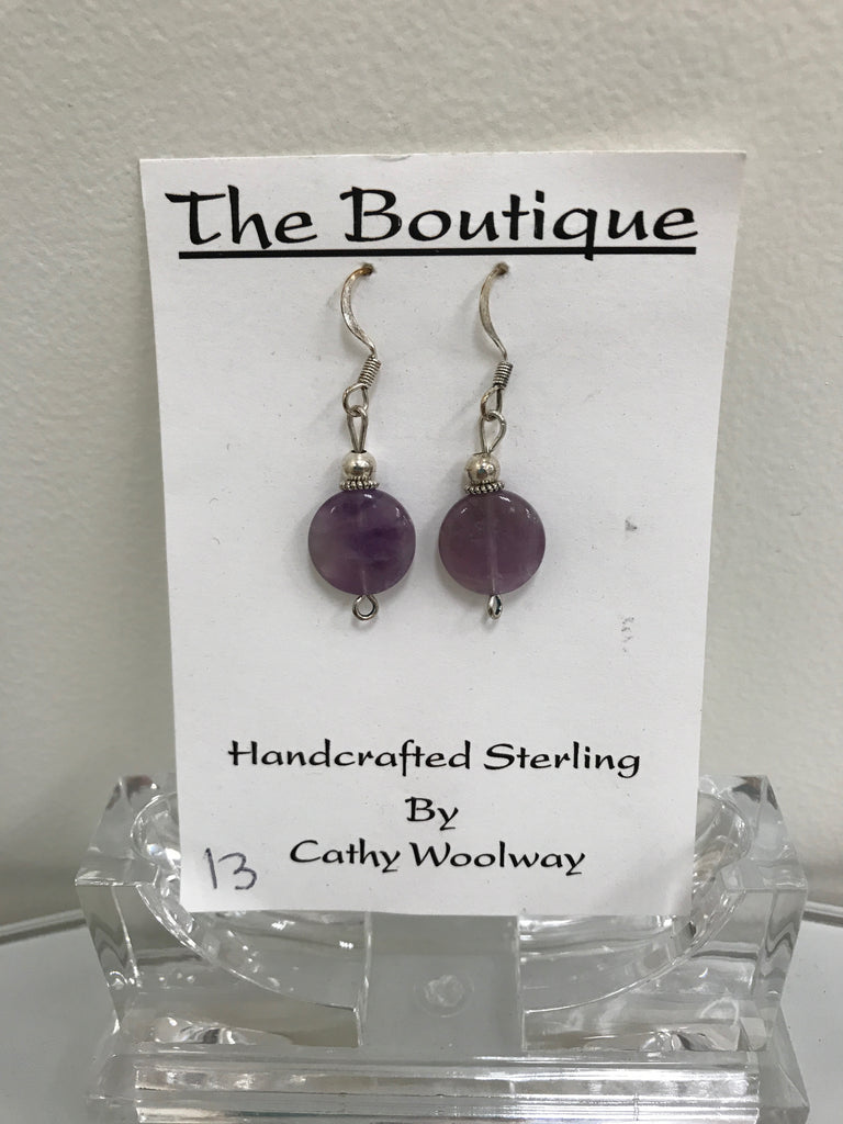 Handmade - Earring Amethyst Gemstone Silver - Accessories Boutique