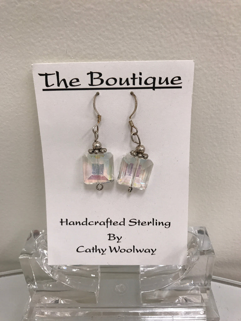 Handmade - Earring Crystal Iridescent Square - Accessories Boutique